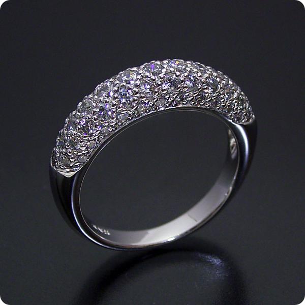 【婚約指輪】結婚指輪 ダイヤモンド【パヴェセッティング】プラチナ【エンゲージリング】「ダイヤモンドが輝くパベセッティングリング」
