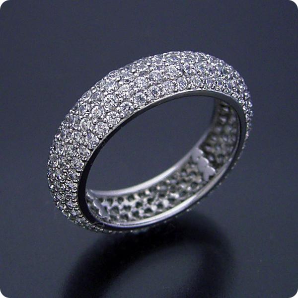 【婚約指輪】結婚指輪ダイヤモンド【パヴェセッティング】プラチナ【エンゲージリング】受注生産品「甲丸リングがベースのフルパヴェセッティングエタニティリング」