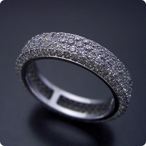 【婚約指輪】結婚指輪ダイヤモンド【パヴェセッティング】プラチナ【エンゲージリング】「平打ちリングがベースのフルパヴェセッティングエタニティリングの婚約指輪」