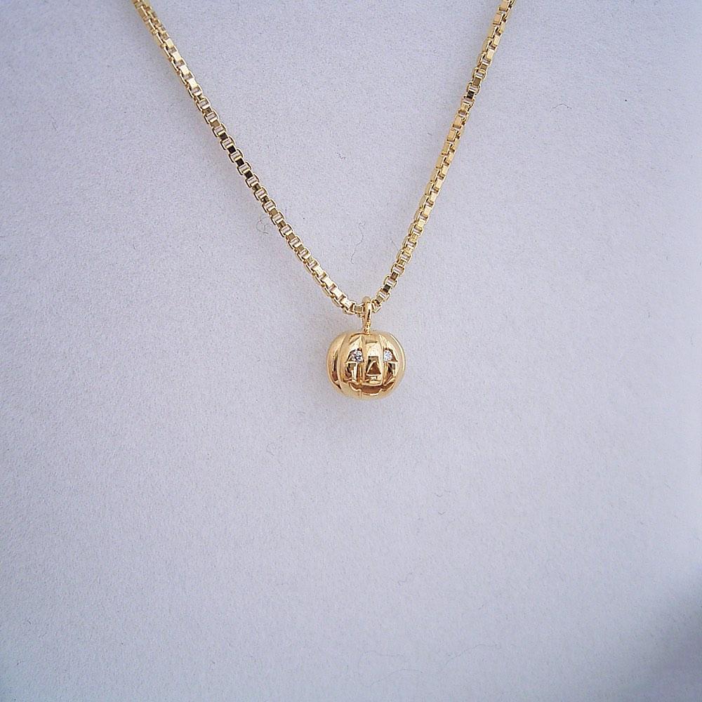 ハロウィーン 18金 ゴールデン カボチャ ネックレス ダイヤモンド 誕生石 プレゼント ギフト 金のうんこ