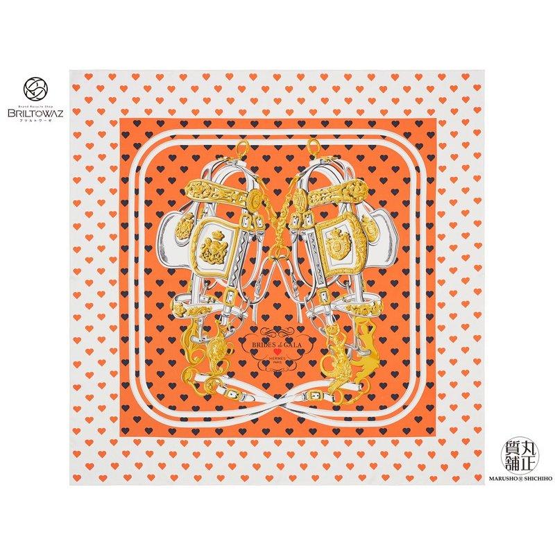【Special】【送料無料】【あす楽】 エルメス カレ90 シルクスカーフ 2017SS BRIDES DE GALA LOVE オレンジ/マリン/白 ブリッド・ドゥ・ガラ・ラヴ HERMES ハート H003132SC05【新品】【未使用】【代引 無料】【ブリルトワーゼ】【丸正質舗】【質屋】(M205086)