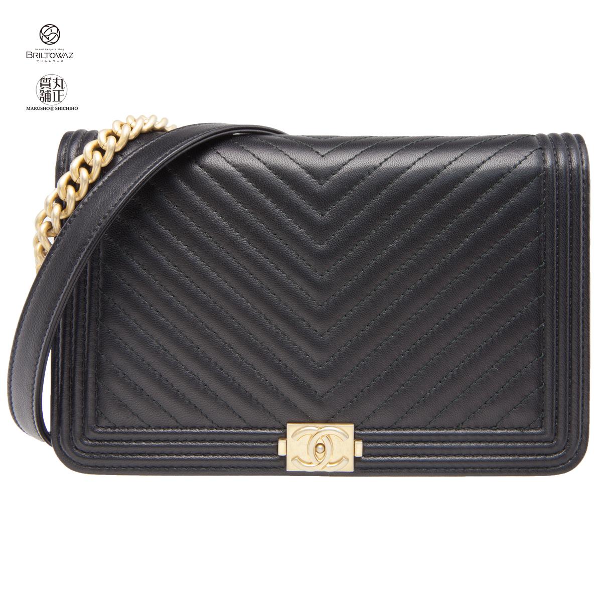 3b3b8d69381a91 Chanel boy Chanel Chevron chain wallet shoulder bag A81969 2019SS Japanese  non-release lambskin black ...