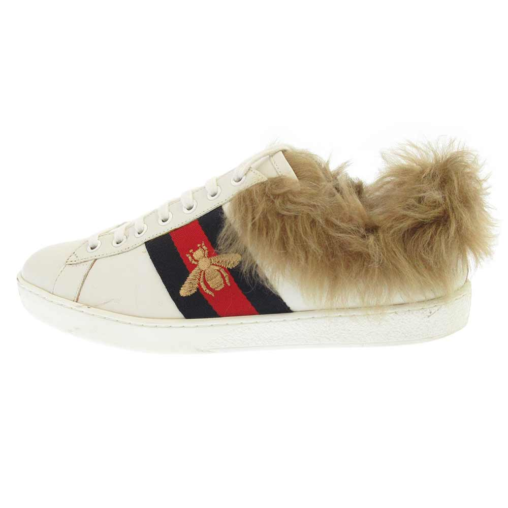 GUCCI(グッチ)18SS Ace Low Top Sneakers With Fur ファー付きレースアップスニーカー【中古】【程度A】【カラーホワイト】【取扱店舗渋谷】