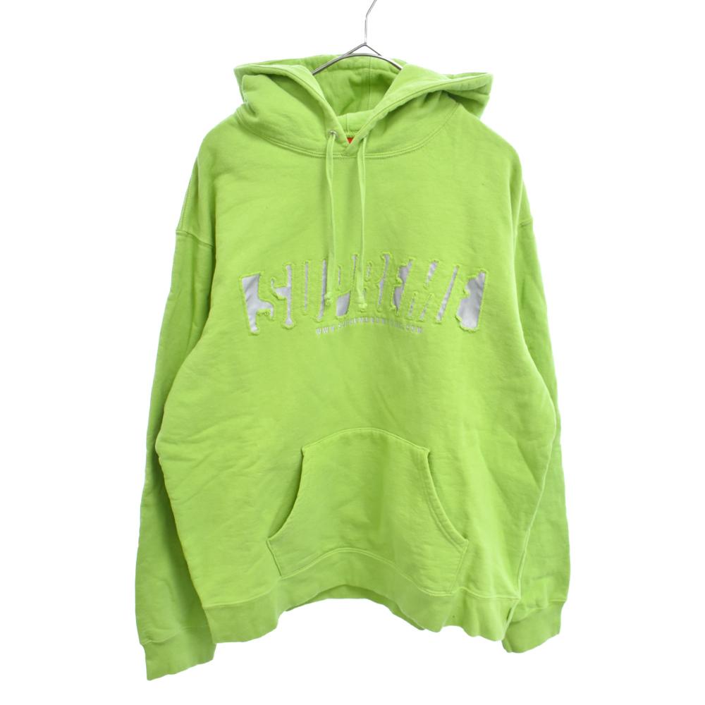 ストア SUPREME シュプリーム 20SS Reflective Cutout Hooded Sweatshirt リフレクティブ プルオーバーパーカー グリーン 程度A 舗 中古 カラーグリーン オンライン限定商品 カットアウト