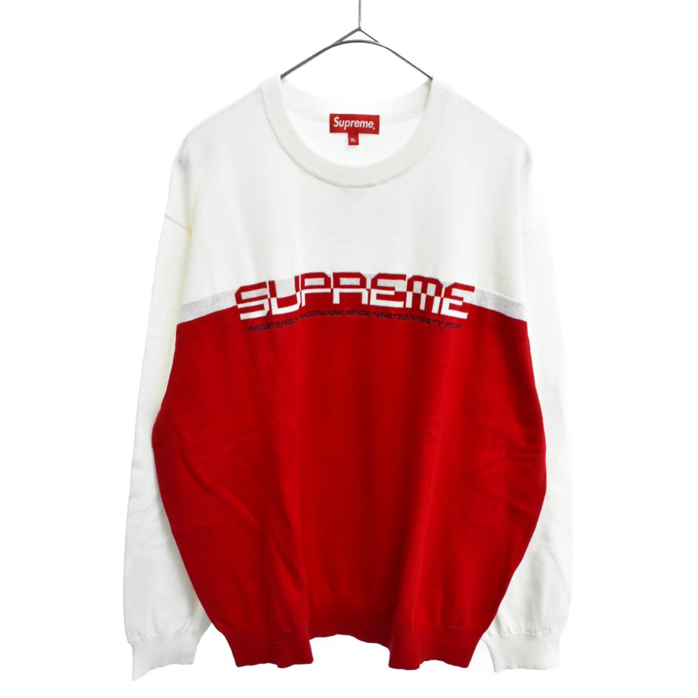 SUPREME シュプリーム 正規品送料無料 保証 21SS Split Logo Pullover スプリットロゴコットンニットセーター カラーホワイト レッド オンライン限定商品 程度SA 中古 ホワイト