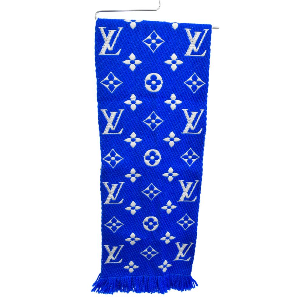 販売 LOUIS VUITTON 選択 ルイヴィトン モノグラム エシャルプ ロゴマニア マフラー 中古 程度S M71839 カラーブルー 新古品 ブルー オンライン限定商品