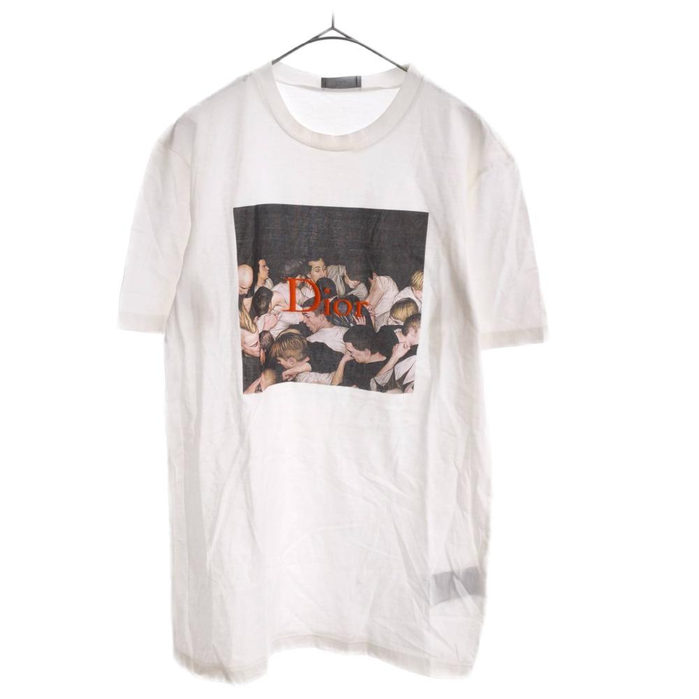 DIOR ディオール 贈物 売れ筋 17AW フロントフォトプリント ロゴ刺繍半袖Tシャツ ホワイト 733J603WI114 カラーホワイト 中古 程度AB オンライン限定商品