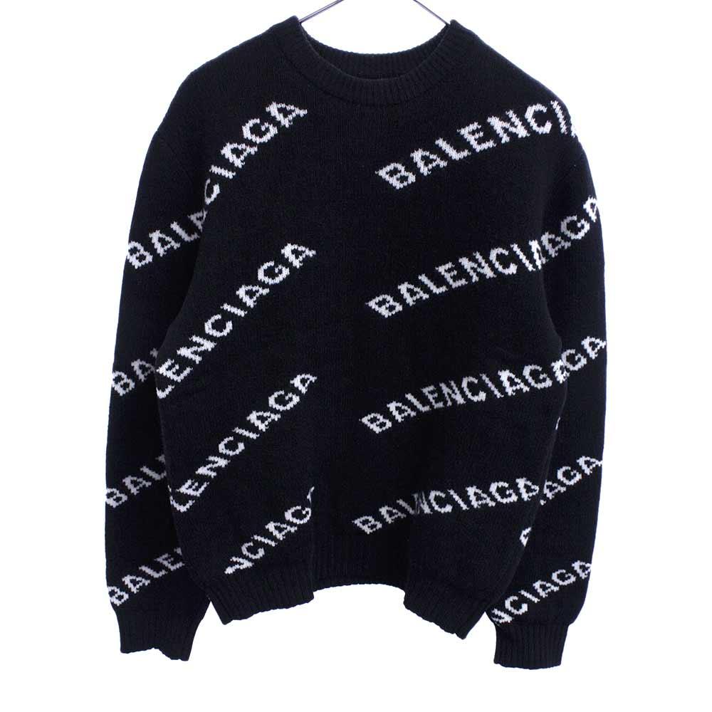 BALENCIAGA バレンシアガ 19AW 贈物 ロゴ総柄ウールジャガードクルーネックニットセーター ブラック 534418 日本限定 オンライン限定商品 程度B T1471 中古 カラーブラック
