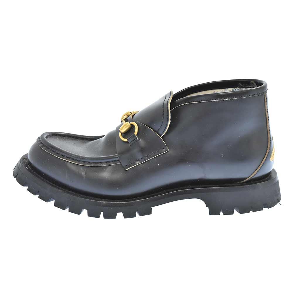 GUCCI グッチ Leather Horsebit 完売 Loafer 545280 レザーホースビットローファー バックビー刺繍アンクルシューズ 中古 オンライン限定商品 程度AB 送料無料でお届けします カラーブラック ブラック