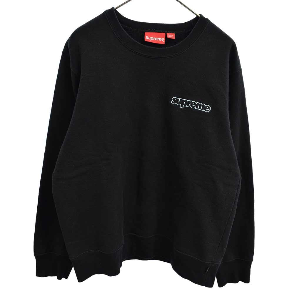 SUPREME シュプリーム 18AW Connect Crewneck Sweatshirt オンライン限定商品 ブラック カラーブラック 商品追加値下げ在庫復活 引き出物 程度AB ロゴ刺繍クルーネックスウェットトレーナー 中古