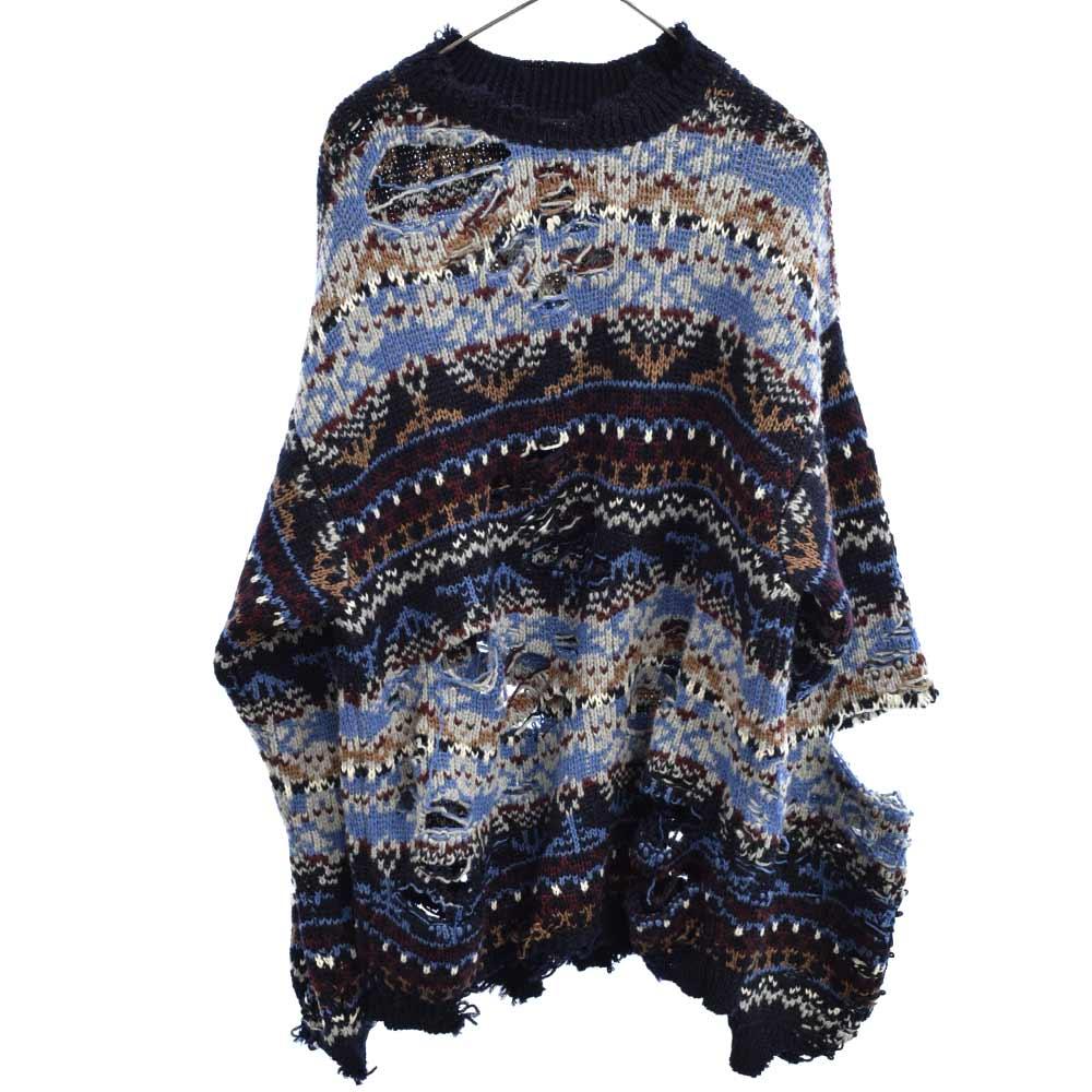BALENCIAGA バレンシアガ Ripped Sweater 大放出セール Patterned Sweatshirt 662518 T1602 オーバーサイズ カラーブルー 程度A 中古 ダメージ加工 オンライン限定商品 《週末限定タイムセール》 デストロイ加工 ブルー ネイティブ柄ニットセーター グレー