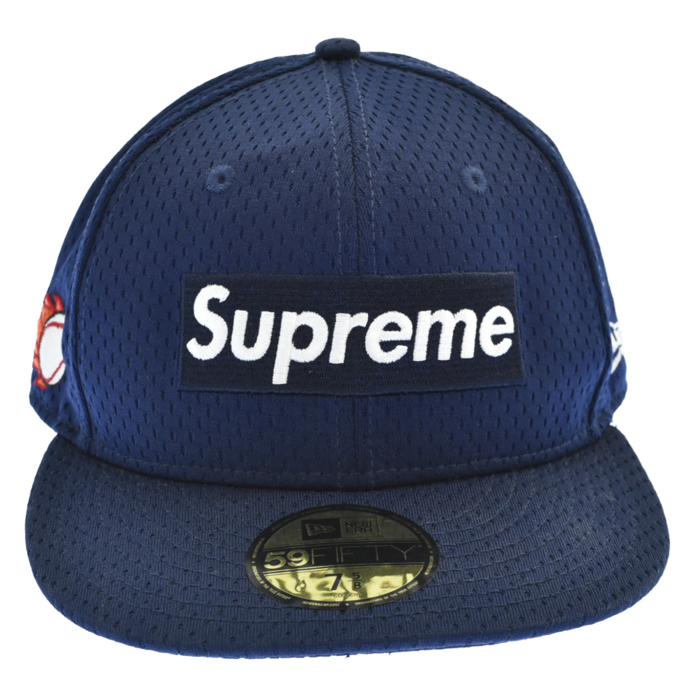 SUPREME(シュプリーム)18SS Mesh Box Logo New Era Cap BOX ボックスロゴ刺繍メッシュベースボールキャップ ネイビー【中古】【程度A】【カラーネイビー】【取扱店舗原宿】