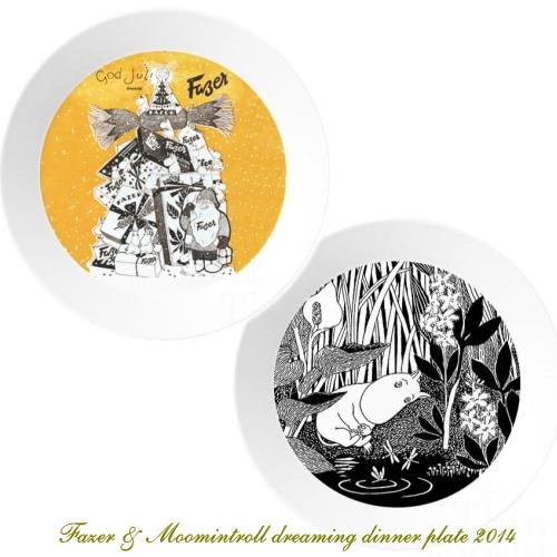 レア物☆アラビア/ARABIA/Fazer & moomintroll dreaming dinner plate 2014/ムーミンクリスマスプレート 19cm (2枚入り)オリジナル箱入り・新品。05P01Oct16