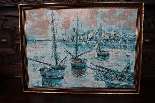 英国 イギリスアンティーク 油絵/風景画 1960年頃 英国製g10-3