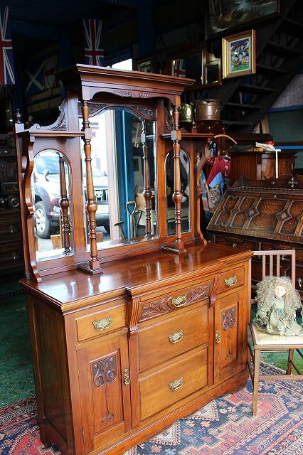 英国 イギリスアンティーク家具 サイドボード ミラーバック/サイドボード ディスプレイ/サイドボード ミラー 英国家具1900年頃 英国製h17
