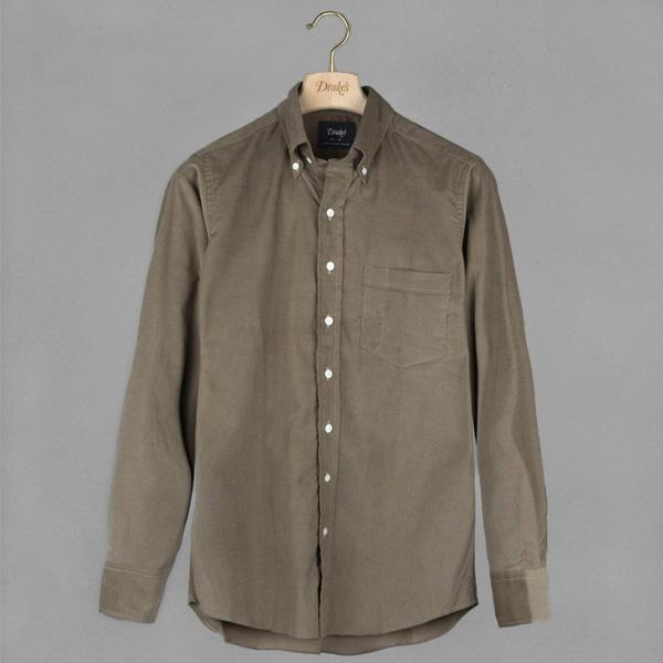 【SALE/セール】【Drake's/ドレイクス】ニードルコーデュロイシャツ(ボタンダウン)(メンズ カジュアル シャツ カラーシャツ)