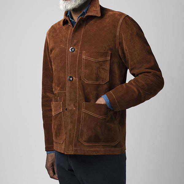 【Drake's/ドレイクス】スウェード ファイブポケットチョアジャケット(メンズ ワークジャケット クロスタスエード 冬)