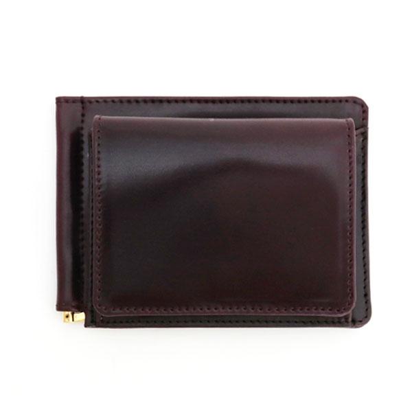 【グレンロイヤル】マネークリップ コインケース付財布 コードバン×ブライドルレザー 全3色 (GLENROYAL ブランド メンズ レディース レザー 本革 コンパクト 二つ折りミニ財布)