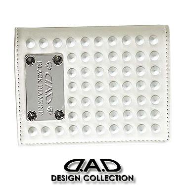 DAD 財布 デーアーデー 二つ折り財布 メンズ ブラックダイヤモンド スタッズ 1802 ホワイト