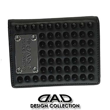 DAD 財布 デーアーデー 二つ折り財布 メンズ ブラックダイヤモンド スタッズ 1802 ブラック