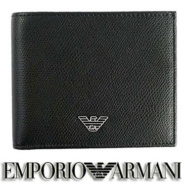エンポリオ アルマーニ 財布 EMPORIO ARMANI メンズ 二つ折り財布 ブラック YEM122 YAQ2E 81072 【楽ギフ_メッセ入力】