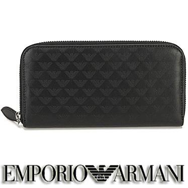 エンポリオ アルマーニ 財布 EMPORIO ARMANI メンズ ラウンドファスナー 長財布 ブラック YEME49 YC043 80001