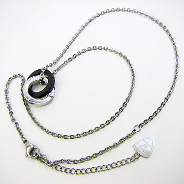 Lionheart necklace mens LION HEART double ring necklace 04N135SM stainless necklace
