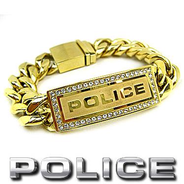 ポリス ブレスレット POLICE LOWRIGER 25143BSG01 キュービック&ゴールドカラー ステンレスアクセサリー