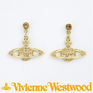 ヴィヴィアン ウエストウッド ピアス Vivienne Westwood MINI BAS RELIEF DROP 724536B/2 (1216-14-62) ゴールド