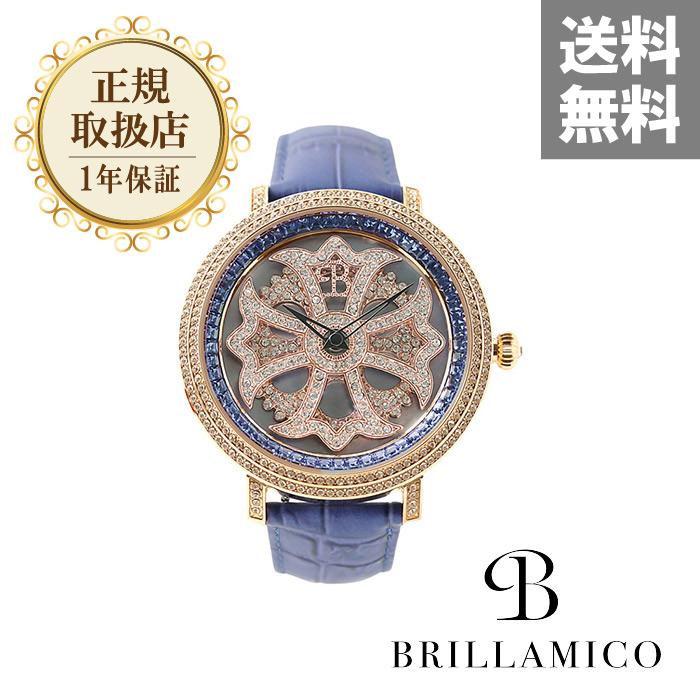 BRILLAMICO ブリラミコ 腕時計 メンズ レディース 爆売り ペア ペアウォッチ 人気 ブランド 新品 正規取扱店 LILY BLUE 送料無料新品 ラッピング無料 革ベルト GOLD 送料無料 x スワロフスキー 46MM 1年保証