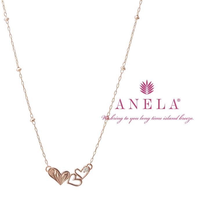 ハワイアンジュエリー ネックレス レディース アクセサリー 華奢 かわいい 大人かわいい ギフト プレゼント 在庫処分 ホワイトデー アネラ ダイヤモンド 送料無料 ピンクゴールド ハートネックレス SEAL限定商品 ANELA K10PG