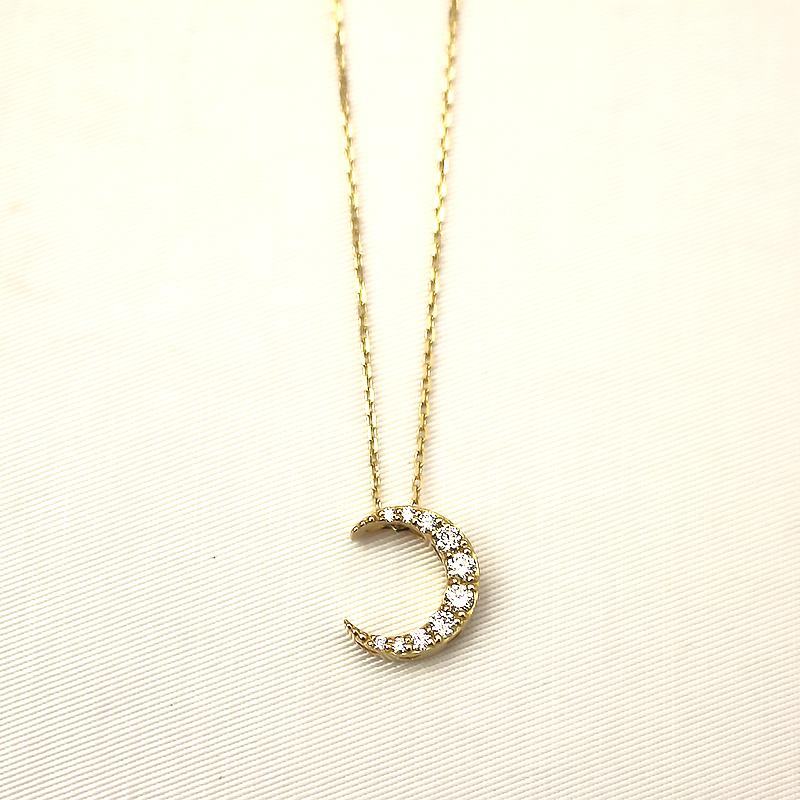 華奢 ご褒美ジュエリー プチネックレス 奉呈 ネックレス シンプル 大人可愛い 永遠の定番 ギフト プレゼント 通販 gift K18YG ムーンネックレス pierce jewelry クリスマス dia B.colletto ブローチ