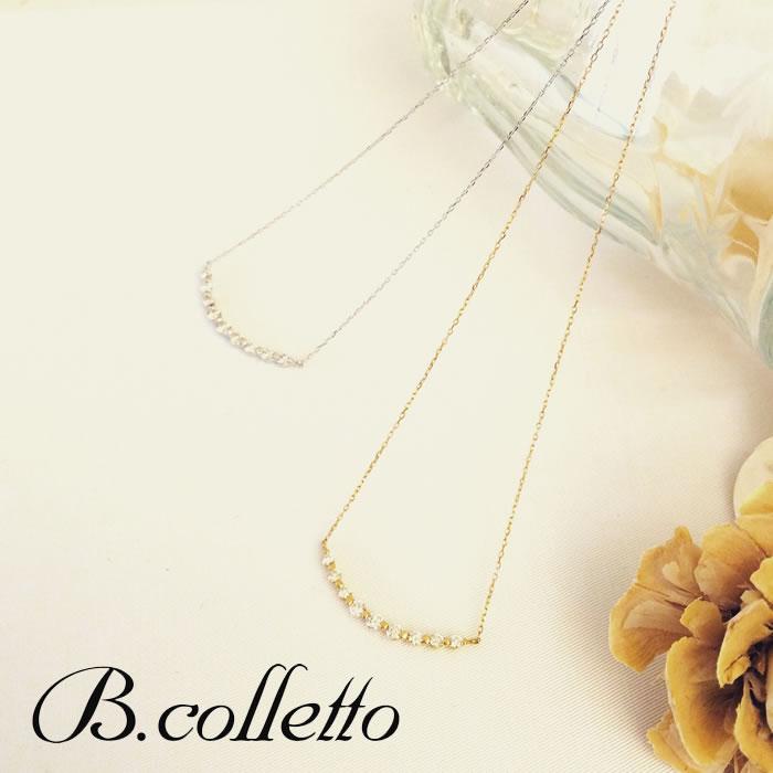 【B.colletto ビーコレット】ラインダイヤネックレス K18WG