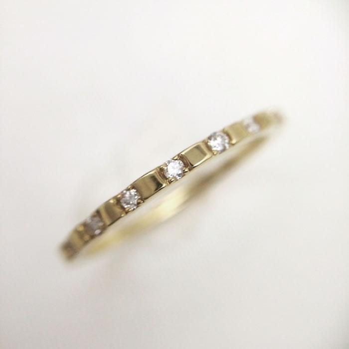 送料無料【Joyeux】 K18YG ダイヤモンドリング Diamond 0.07カラット