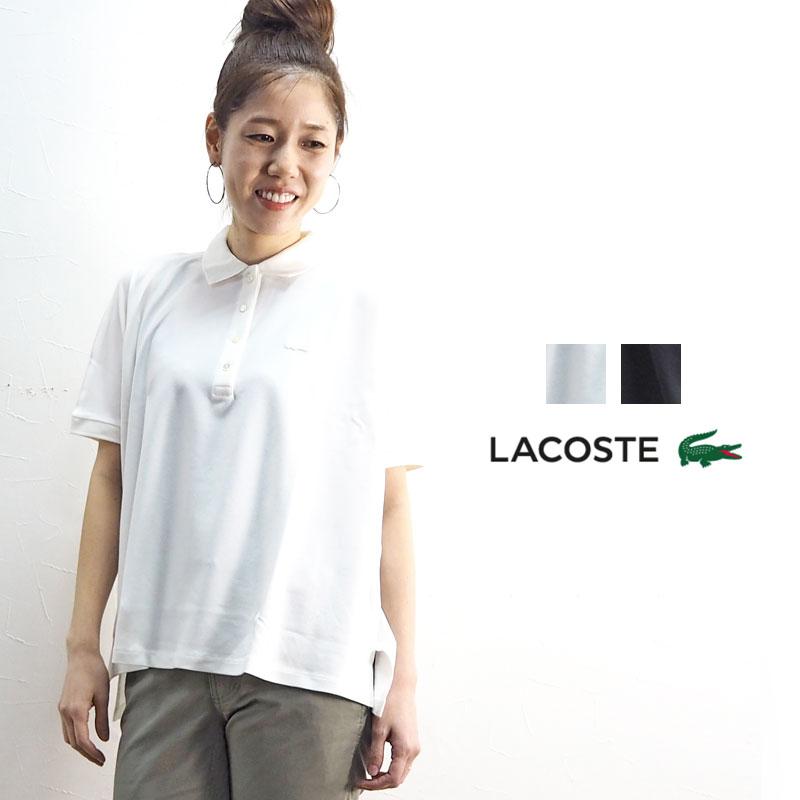 LACOSTE ラコステ POLOS PF0103L ポロシャツ 半袖 レディース 春 春夏 おしゃれ かわいい 白 ホワイト 黒 ブラック 無地 シンプル ストレッチ ワイド ゆったり 刺繍 ロゴ トップス 大人