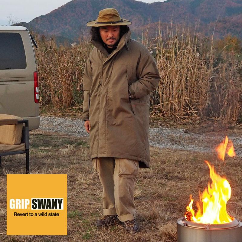 GRIP SWANY グリップスワニー ダウン モンスターパーカー ダウンジャケット GSJ-52 メンズ ダウンコート コート 難燃 難燃加工 防寒 焚火 焚き火 キャンプ キャンパー BBQ アウトドア 燃えにくい ファイアーシールド 黒 オリーブ アメカジ ワーク