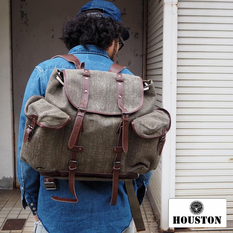 <title>無骨で丈夫なミリタリーな雰囲気たっぷりな万能リュック 新品 送料無料 AW16Z HOUSTON ヒューストン LINEN RUCK SACK 6563 リュック リュックサック 大容量 メンズ レディース アウトドア キャンプ 旅行 ミリタリー バッグ 鞄 bag バックパック バッグバック デイパック デイバッグ</title>