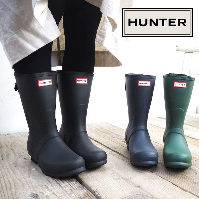 HUNTER ハンター ORIGINAL BACK ADJUST WFS1013RMA レインブーツ レディース 長靴 靴 ショート ショートレインブーツ ブラック BLACK 黒 ラバーブーツ シンプル 大人