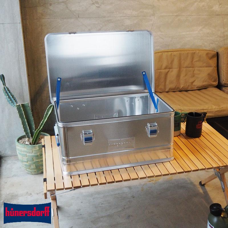 hunersdorff ヒューナースドルフ プロフィー ボックス Metal Profi Box 48L 452150 メタル プロフィーボックス 48L ドイツ製 アウトドア キャンプ ケース チェスト 収納 収納ボックス ギア 道具箱 道具入れ ふた付き 蓋付き キャンパー アルミ
