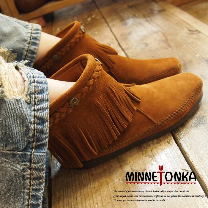 正規品 MINNETONKA/ミネトンカBack zip bootsバックジップブーツ3colors(3色展開)(292-299-297T)レディース モカシン シューズ ネイティブ フリンジ スエード アメリカン バックジップ