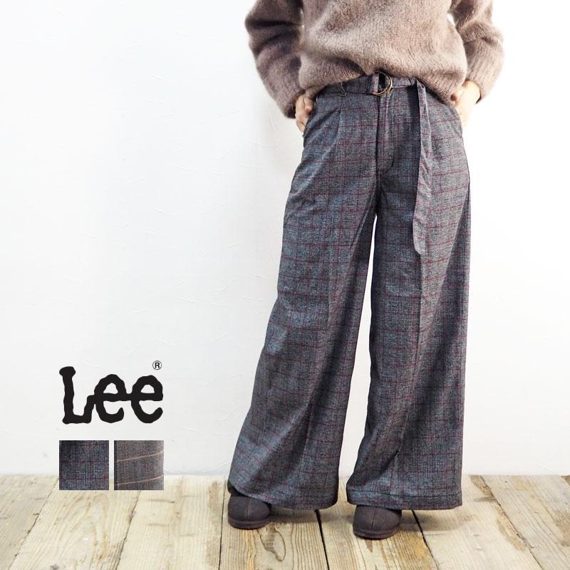 Lee リー SEASONAL EDITION TROUSERS LL6029 トラウザー ワイドパンツ パンツ レディース ロングパンツ ワイド ゆったり ロング チェック グレンチェック おしゃれ きれいめ 上品 カジュアル かわいい ベルト付 大人