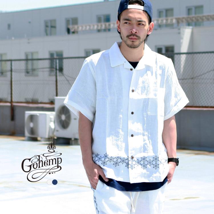 ゴーヘンプ SALE開催中 GO HEMP GOHEMP 店舗 トップス series 麻柄刺繍 SHIRTS YURURI