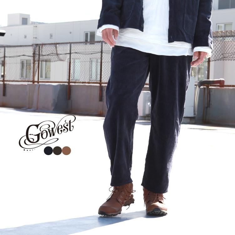 GOWEST Brownfloor ボトムス パンツ 100%品質保証 倉 ゴーウエスト LOOSE AIR PANTS TUMBLER TAPERED CORDUROY 7W