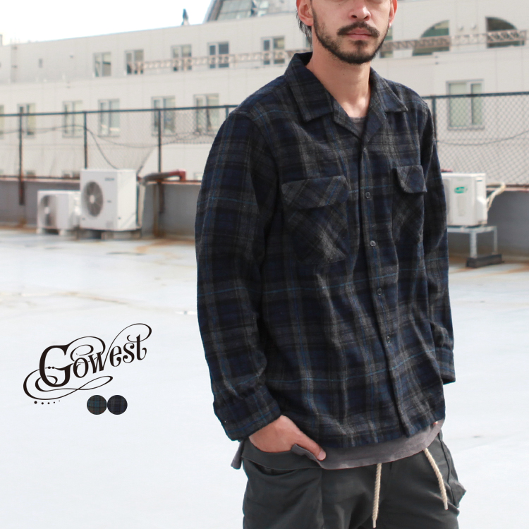 GOWEST ゴーウエスト 推奨 トップス シャツ OUT WOOL CHECK SHIRTS BORDER OF お買得