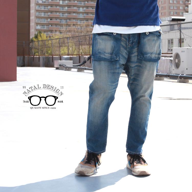 新作からSALEアイテム等お得な商品 満載 デニム ボトムス パンツ サルエル ネイタルデザイン NATAL DESIGN DAMAGE- Denim -REAL Pants G55 Flap ふるさと割 Sarouel