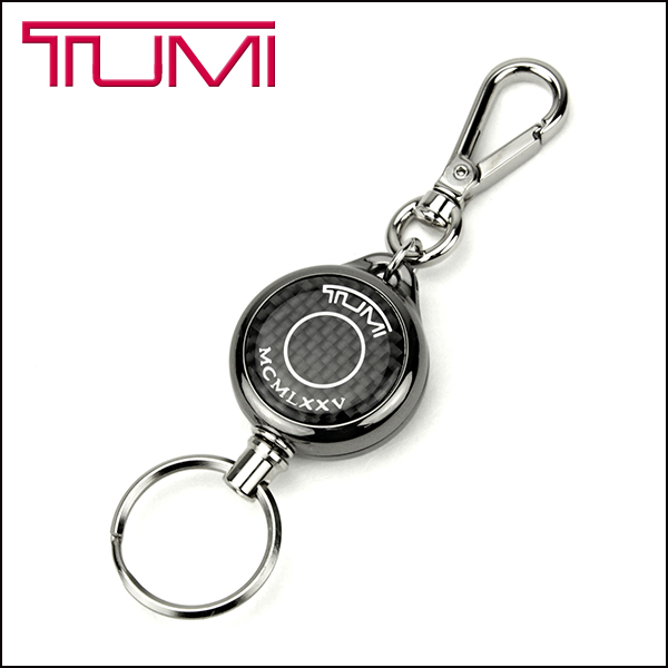 Tumi Keychain TUMI 14,750 brand accessory RETRACTABLE KEY LEASH / retractable, simple black retractable quilish mens CARBON (carbon)