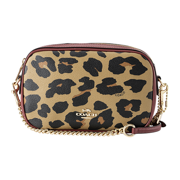 efaae07b21ec コーチ アウトレット ショルダーバッグ COACH OUTLET F39587 IMNAT バッグ レオパードプリント LEOPARD PRINT  アイラ チェーン クロス