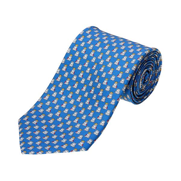フェラガモ ネクタイ FERRAGAMO 357868 002 ブランド小物 プリント タイ PRINTED TIE FROG メンズ BLUETTE ブルー 青 カエル 総柄 ビジネス【 送料無料】