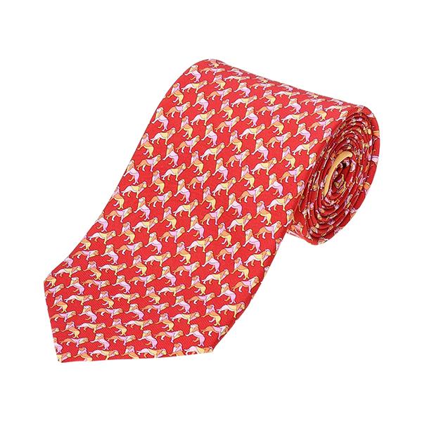 フェラガモ ネクタイ FERRAGAMO 357898 005 ブランド小物 プリント タイ PRINTED TIE LION メンズ ROSSO レッド 赤 ライオン ビジネス【 送料無料】