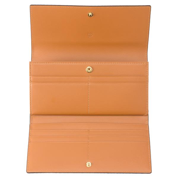 9ed6e816965a エムシーエム定番のシグニチャーモノグラムのコーティングキャンバス素材に上質なレザー素材を組み合わせたフラップ式の長財布。カードを収納する部分が畳み込まれた3  ...